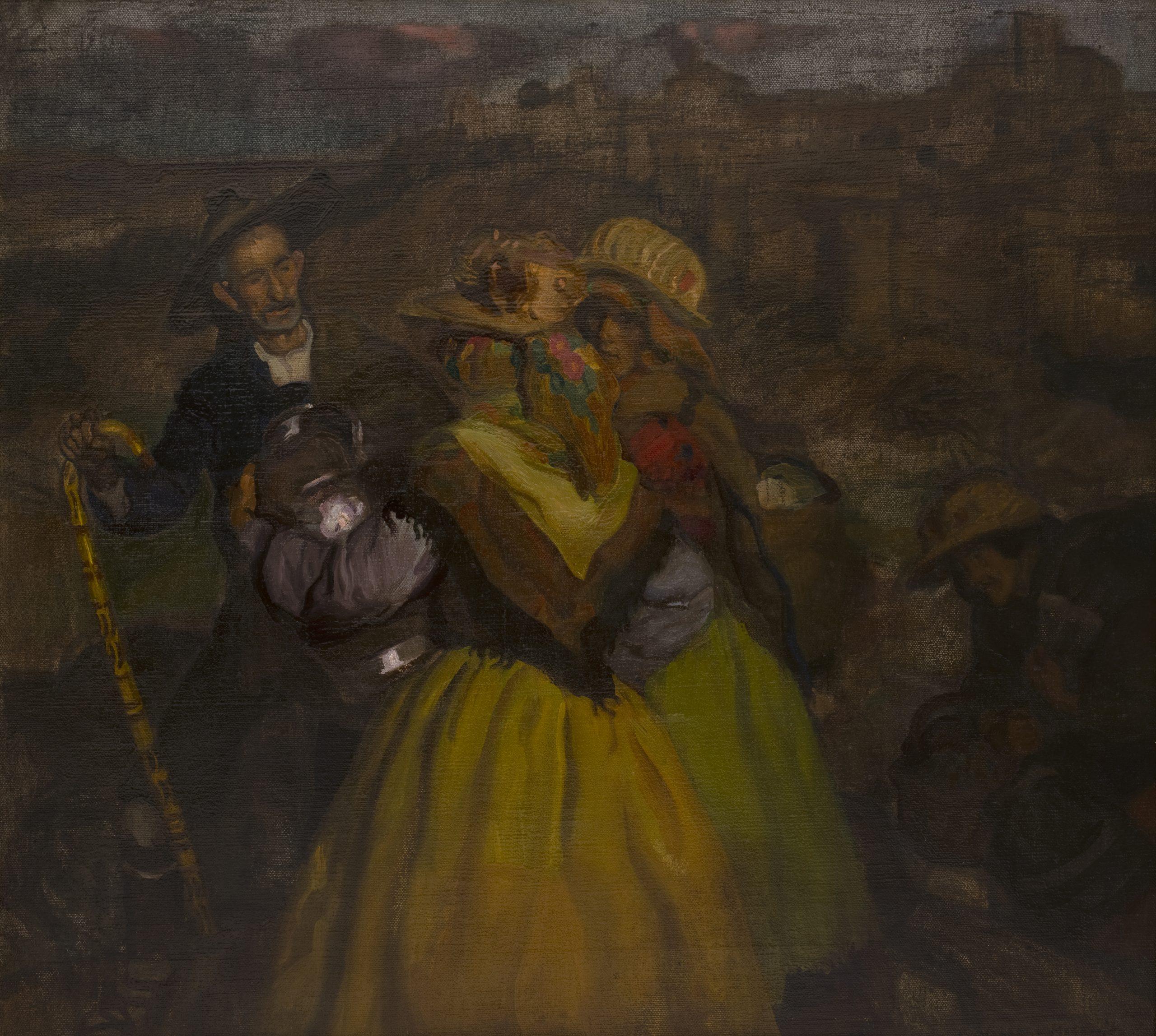 Aldeanas de Ávila, encuentro con un pastor, José María López MezquitaEdad Contemporánea. 1920.Óleo sobre lienzo / 63 x 70 cm.[04/108] Sala I.