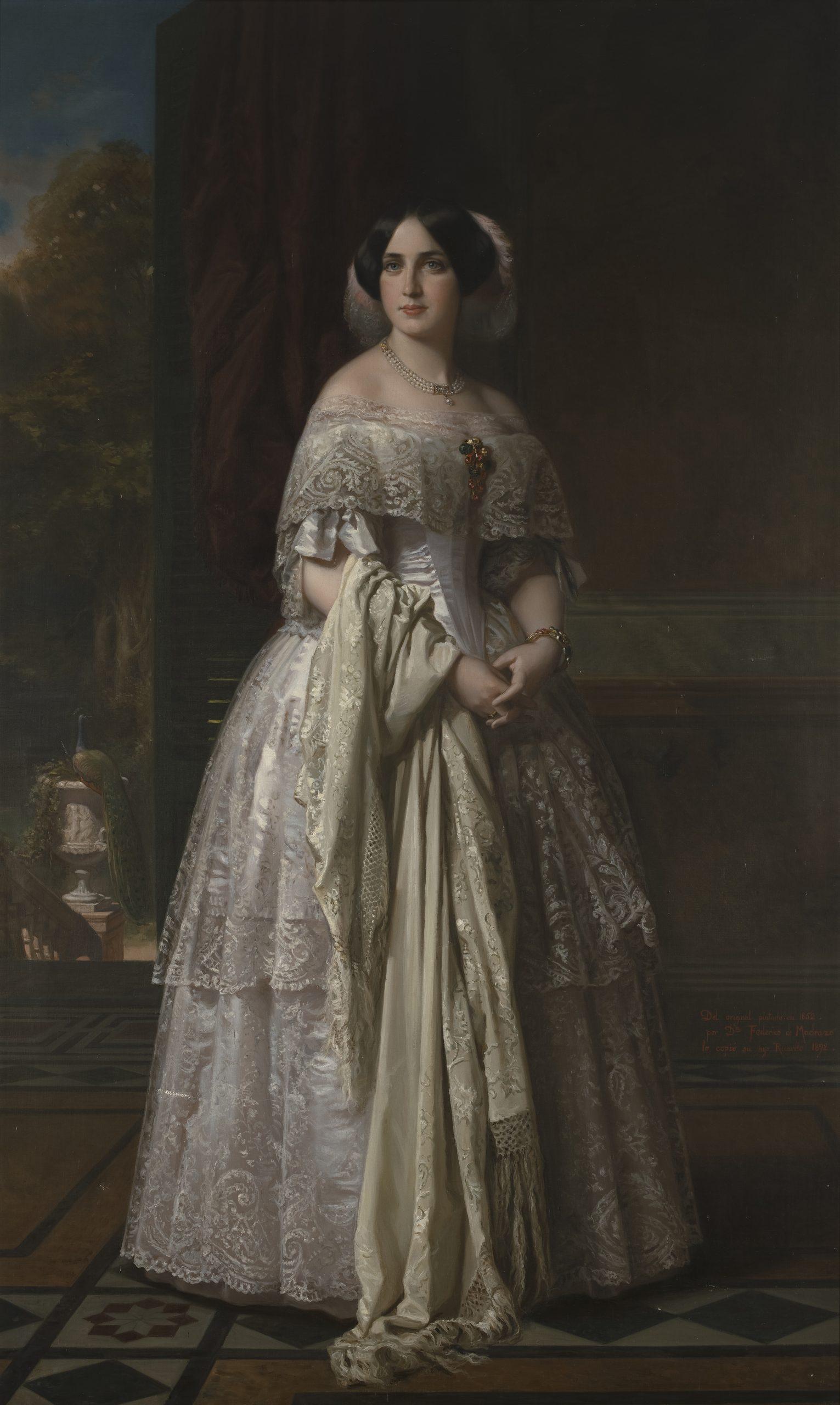 Retrato de la Marquesa de Espeja, Ricardo de Madrazo y GarretaEdad Contemporánea. 1892Óleo sobre lienzo / 211 x 126 cm.[B/74/3/30] Sala IX.