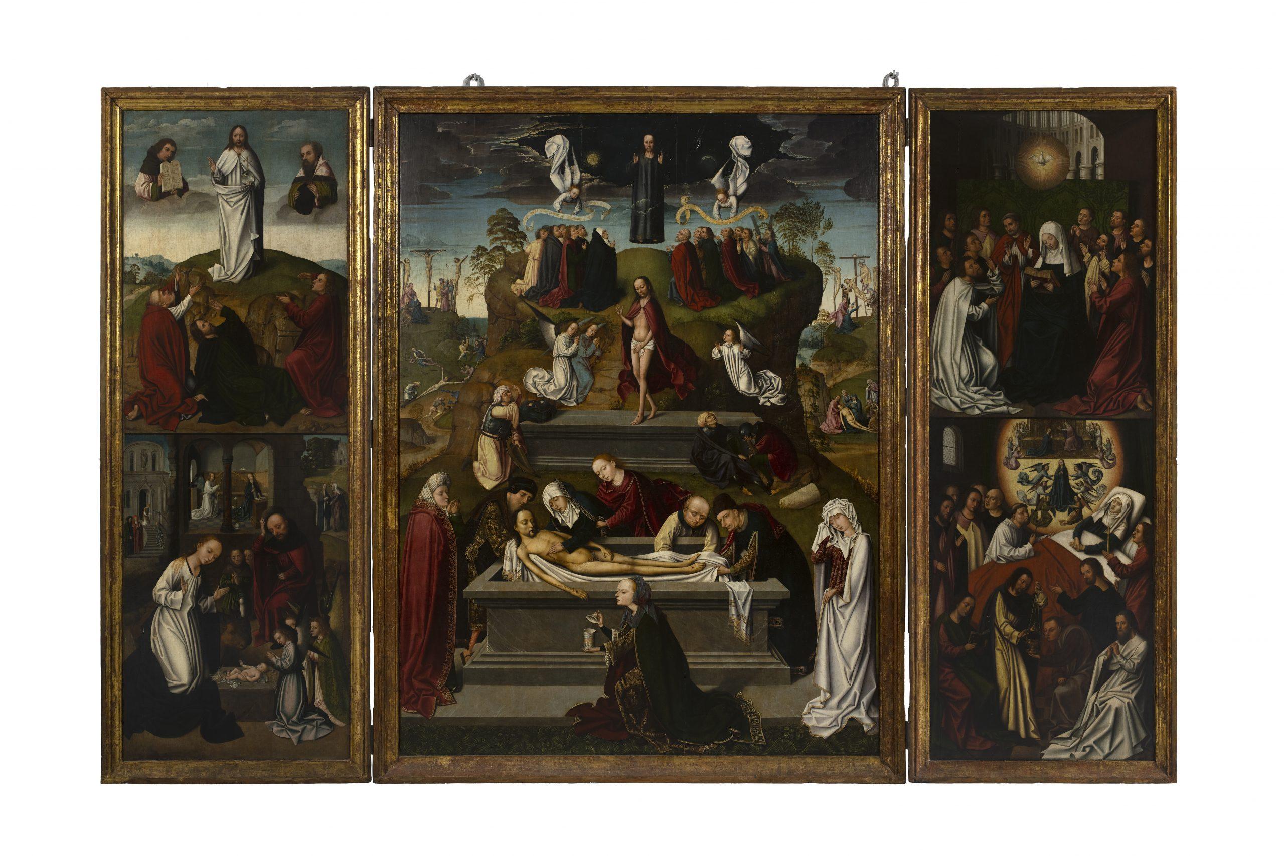 Tríptico flamenco Ávila. Gótico. Siglo XV.Óleo sobre tabla / 223 x 345 cm (abierto).[B/71/3/3] Sala VII.
